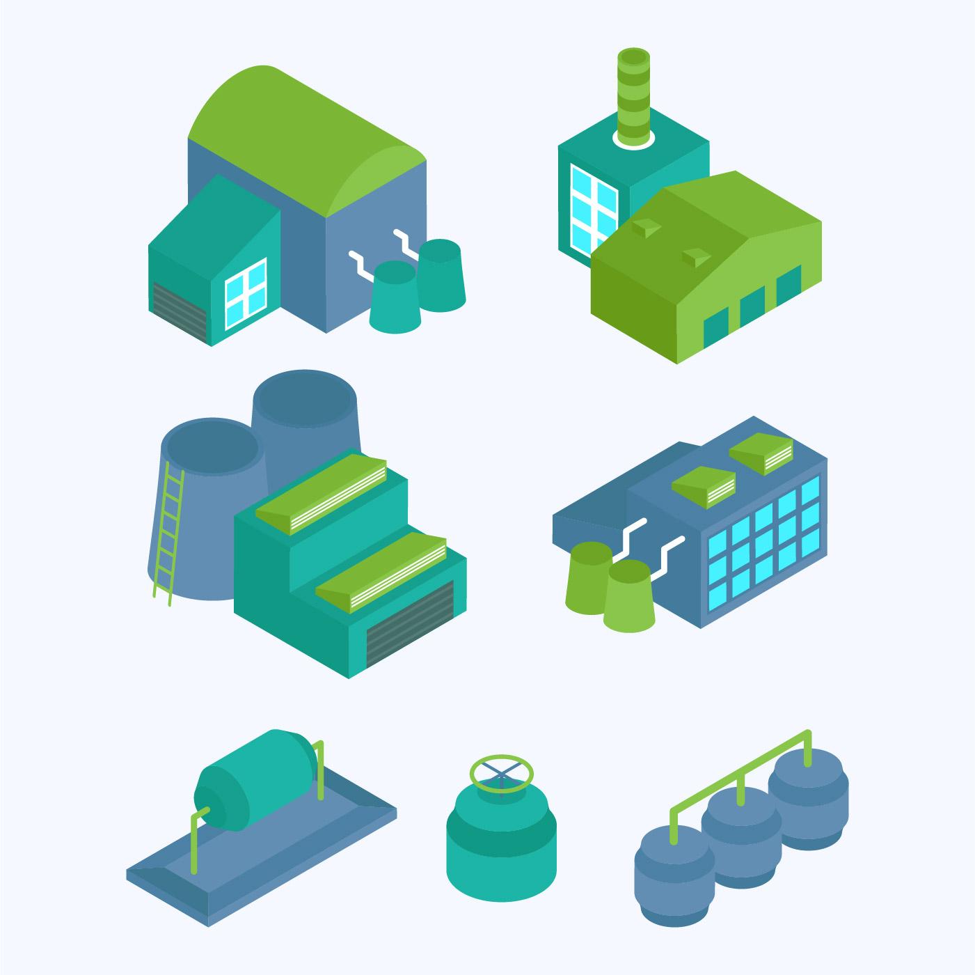 isometric industrial buildings set - Download Free Vectors, Clipart Graphics & Vector Art