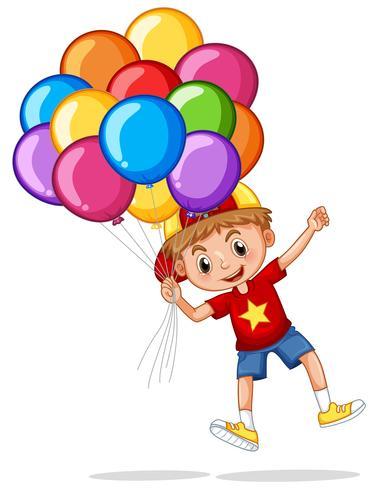 Glad pojke med färgglada ballonger