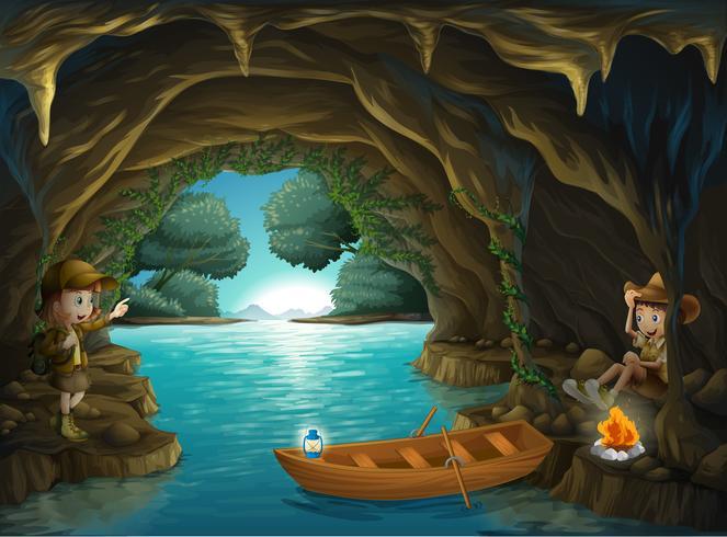 Ein junges Mädchen und ein Junge in der Höhle