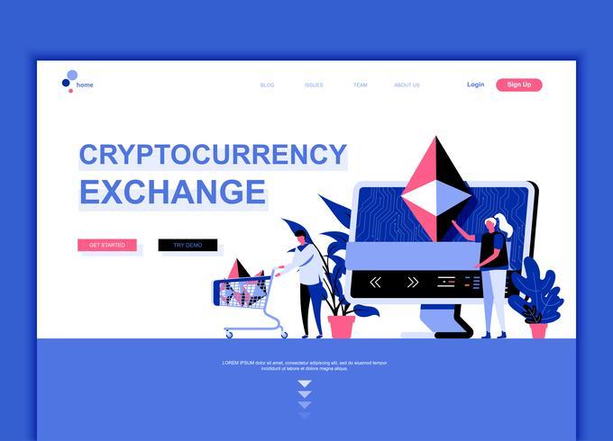 Concept de modèle de conception de page Web plat moderne de Cryptocurrency Exchange décoré le caractère de personnes pour le développement de site Web et de site Web mobile. Modèle de page d'atterrissage plat. Illustration vectorielle