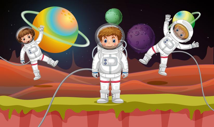 Três astronautas voando no espaço