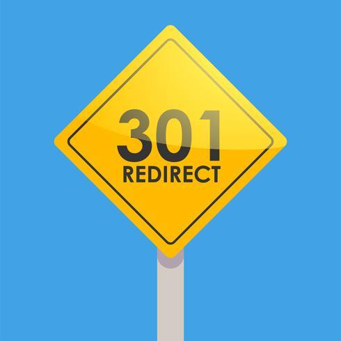Giallo del segnale stradale su una priorità bassa blu. Reindirizzamento 301 per reindirizzare gli utenti del sito. Illustrazione piatta vettoriale