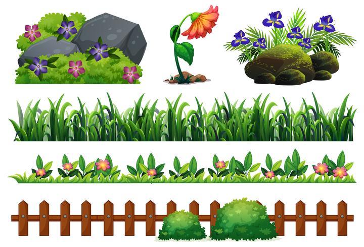 Een set tuinelementen