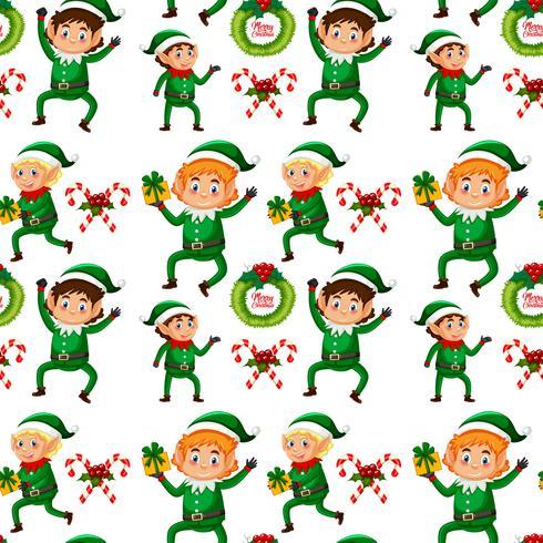 Sfondo senza giunte di elfo di Natale