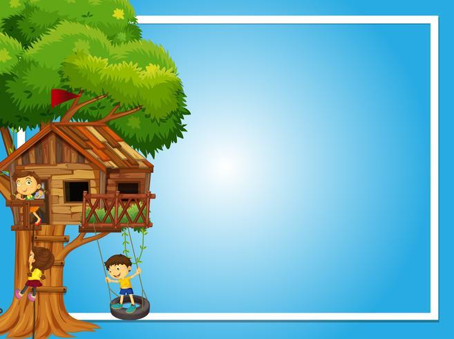 Plantilla de frontera con niños en la casa del árbol