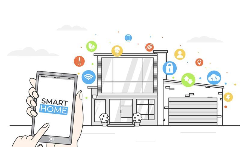 Smart Home-App-Konzept. Linie modernes Haus mit digitalen colorfull flachen Ikonen. Vektor-Illustration