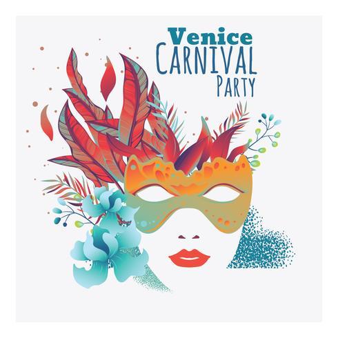 Concepto festivo con máscara para carnaval feliz