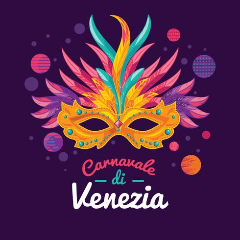 illustrations of Venetian Painted Carnival Facial Masks for a Party Decorated vector