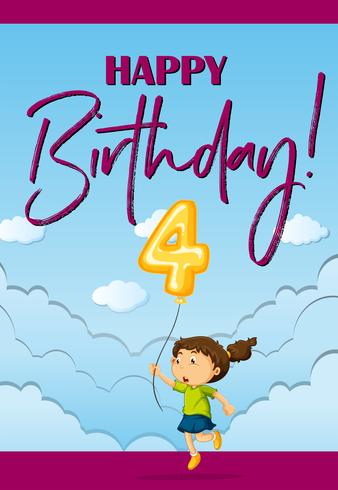 Modello di carta di compleanno con ragazza e numero quattro