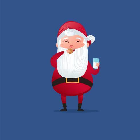 Glücklich ein Weihnachtscharakter niedlicher Weihnachtsmann. Iss süßen Keks und trinke Milch. Vektorkarikaturabbildung