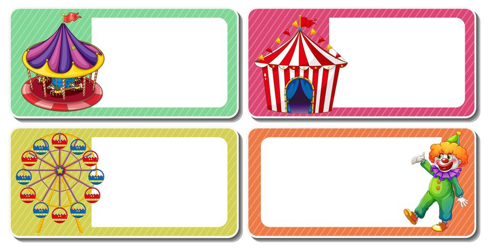 Diseño de etiquetas con clown y carpas de circo.