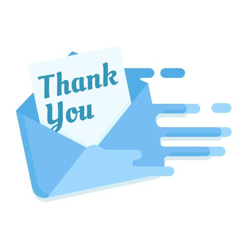Ein Brief mit Dankbarkeit an die Post. Post ankommen Vielen Dank. Flache Vektorillustration