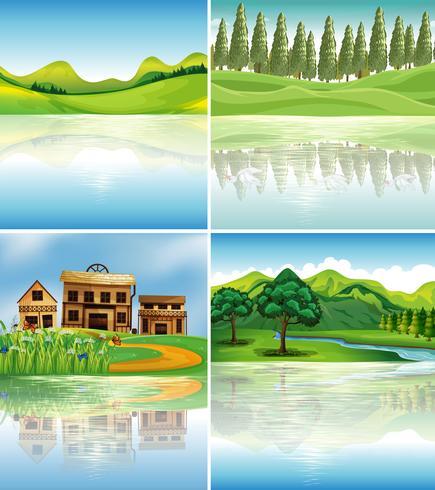 Quattro scene di sfondo con riflessi sul fiume