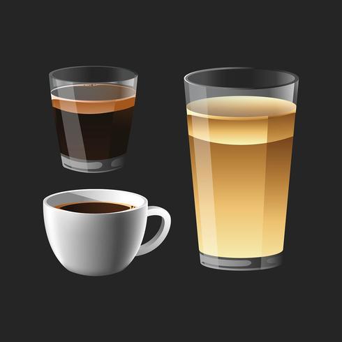Realistische Kaffeemenüs Clipart Set