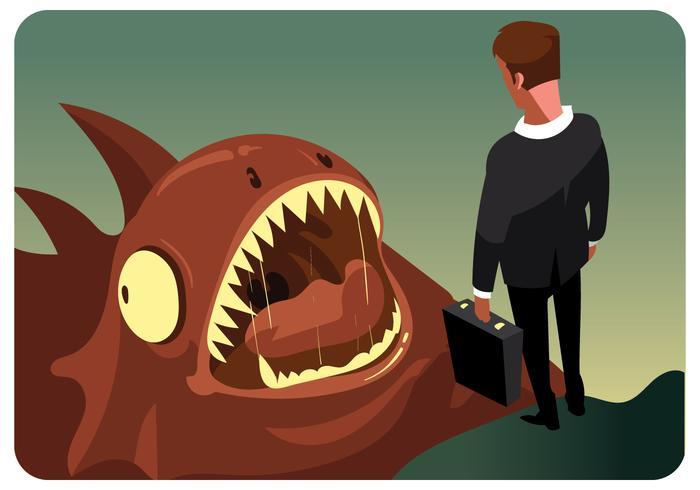 Businessman VS Monster Vector