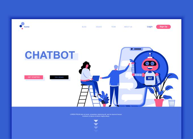 Modern flat web page design template concept of Chat Bot  vector