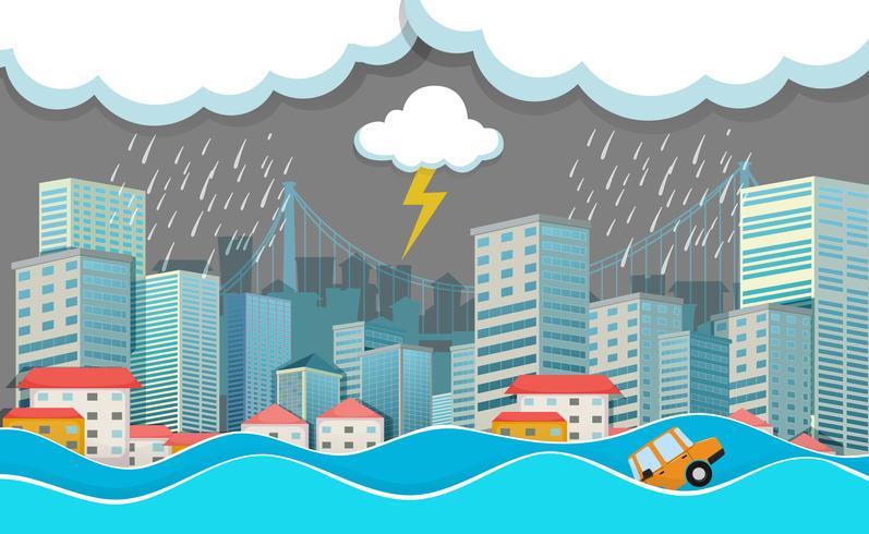En stadsstad under översvämning