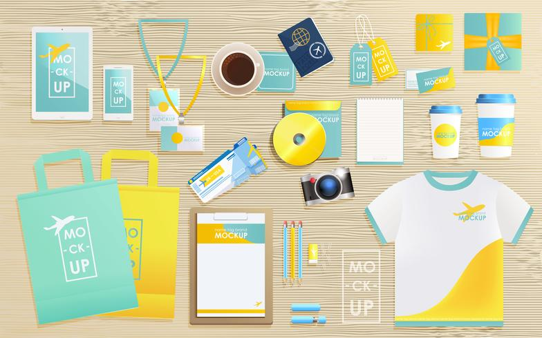 Corporate identity design template set for tourist agency. Mock-up package, tablet, phone, price tag, cup, notebook. concept for travel vector