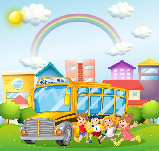 Enfants et bus scolaire dans le parc vecteur