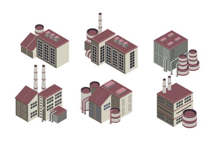 Enorme collectie van isometrische industriële gebouwen