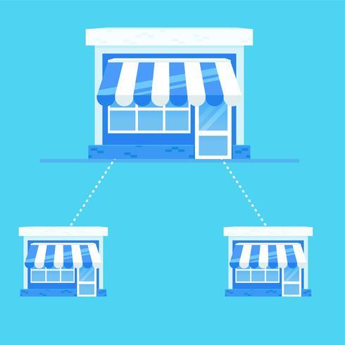 Bannière de franchise. Chaîne de magasins avec un plan d'affaires prêt. Illustration de plat Vector