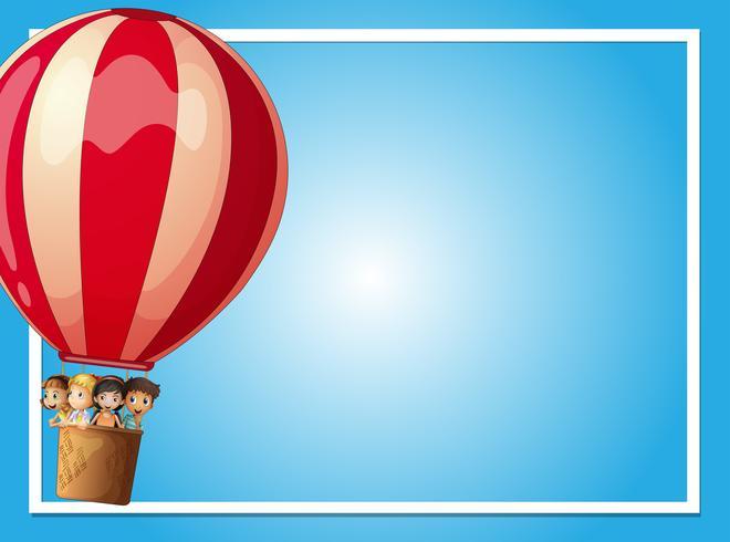 Grenzschablone mit Kindern im roten Ballon