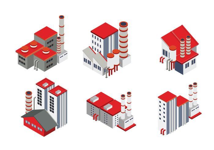 Fábrica industrial isométrica moderna e edifício logístico do armazém