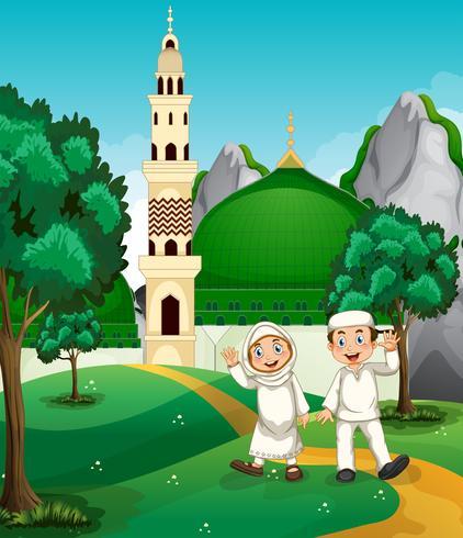 Musulmanes felices frente a la mezquita