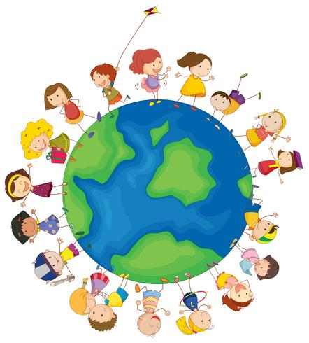 Kids around the globe vector