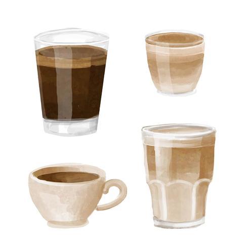 Akvarell Kaffe Meny Clipart Set