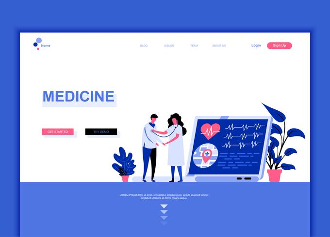 Modern flat web page design template concept of Medicine and Healthcare