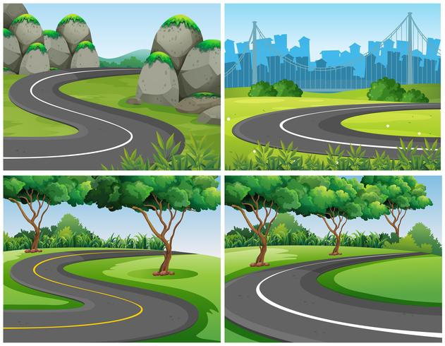Estradas vazias pelo parque e pela cidade