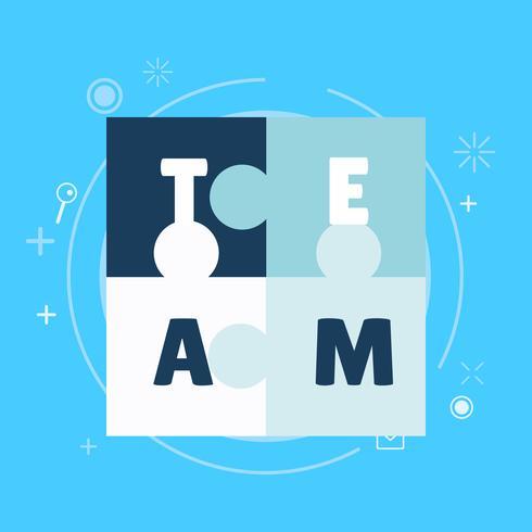 Teamarbeit Banner Weißes Blau mit gemalten Rätseln. Flache Vektorillustration