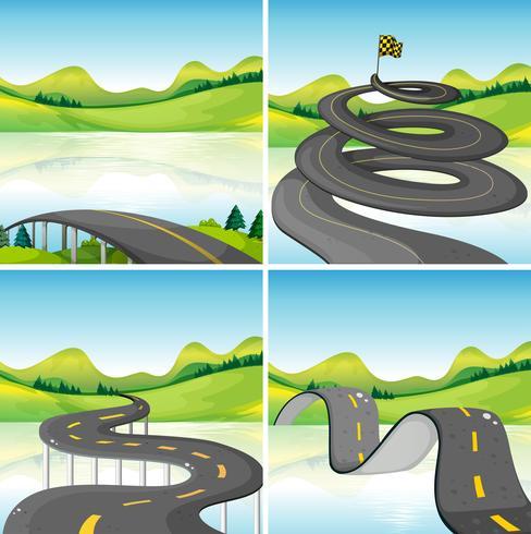 Fyra scener av vägar i fältet
