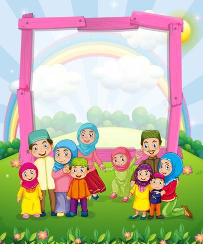 Border design med muslimska familjen
