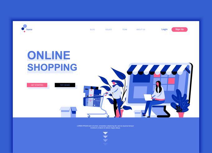 Moderne platte webpagina ontwerpsjabloon concept van online winkelen