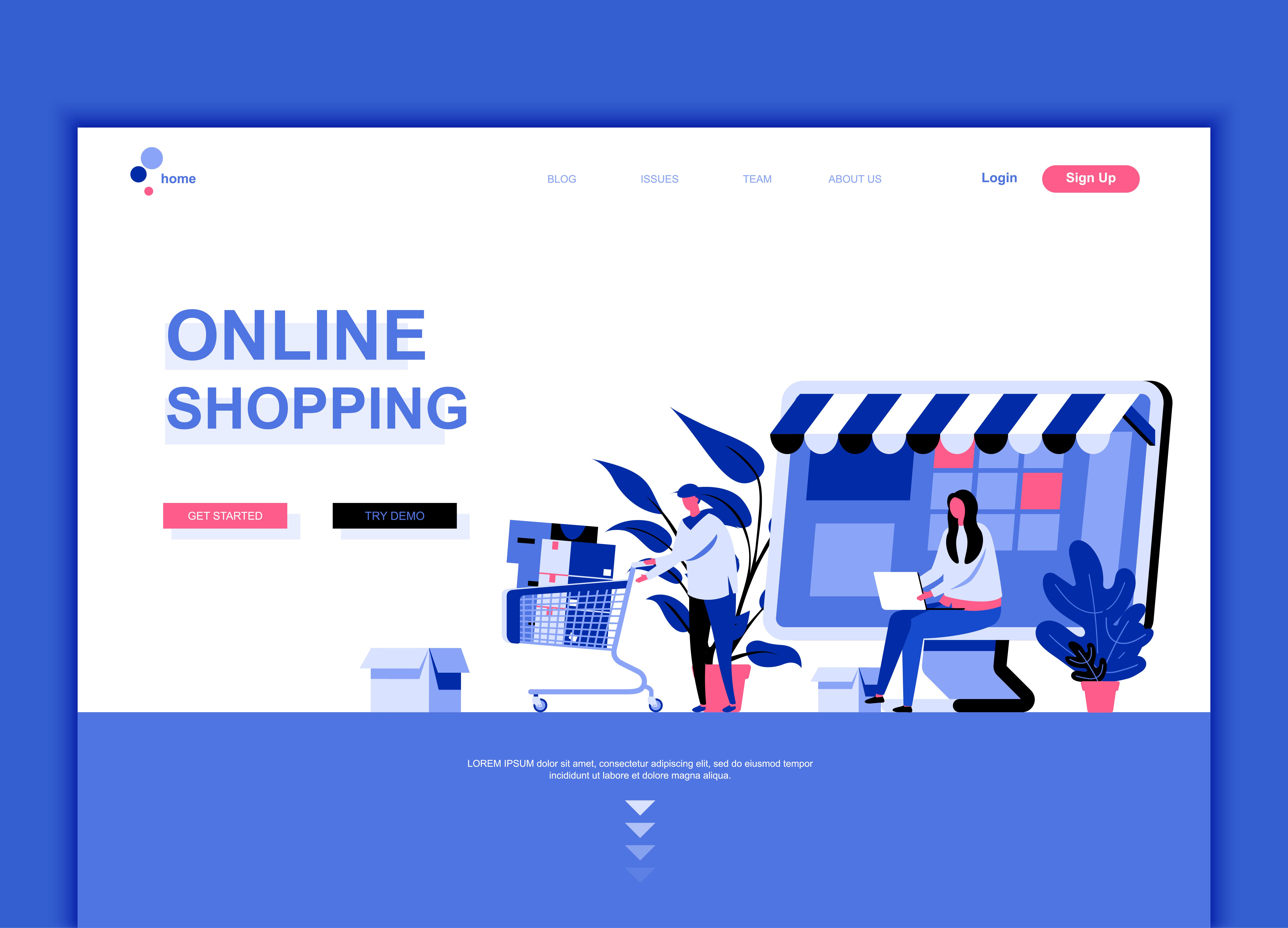 Modern flat web page design template concept of online for Design shop online