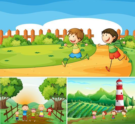 Farm scener med glada barn och familj