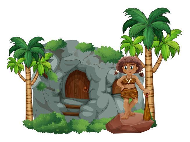 Homem das cavernas e caverna