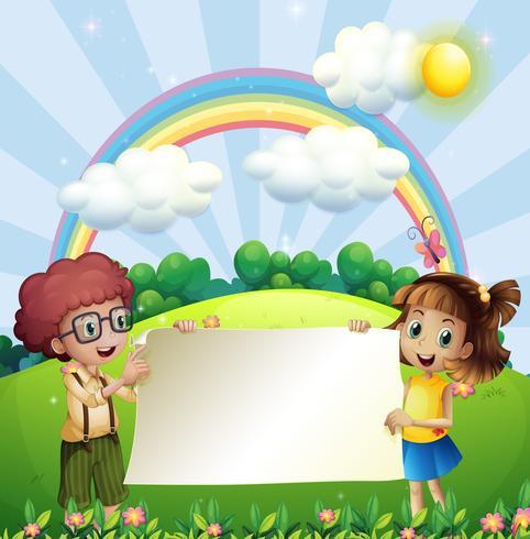 Diseño de papel con niño y niña en el parque.