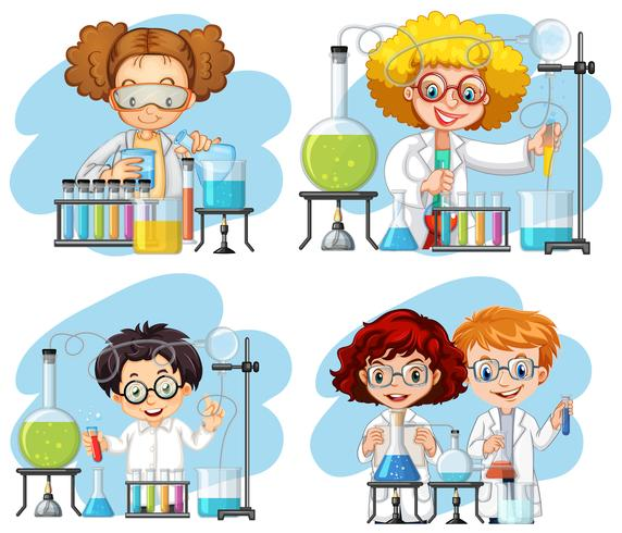 A set of chemist on white background vector