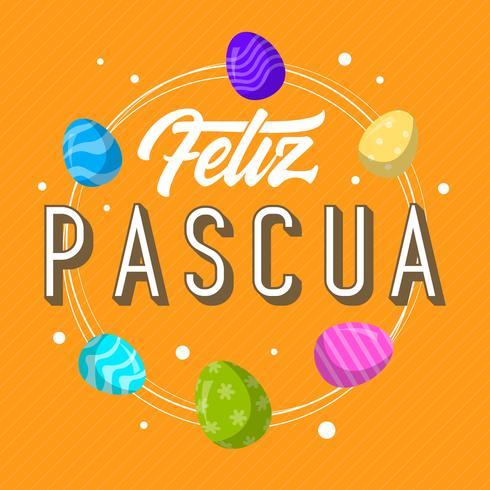 Feliz Pascua plat lettrage fond de vecteur de typographie
