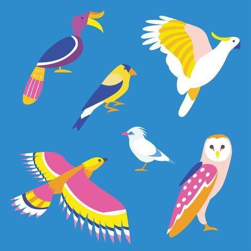 Verschiedene Vogel Cliparts Vektor gesetzt