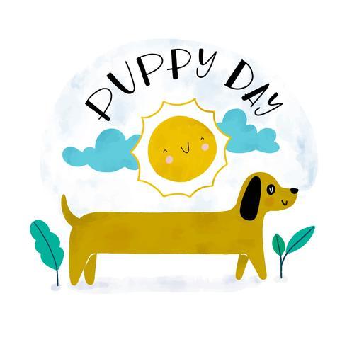 Lindo perro Dachshund con sol, nubes y hojas