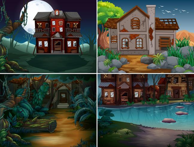 Vier scènes met spookhuizen in het bos