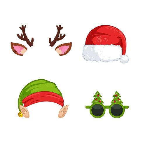 Máscaras de año nuevo para fotos. Clipart de navidad Ilustración vectorial de dibujos animados