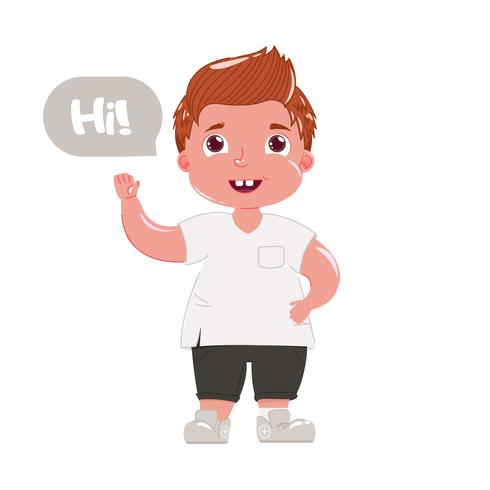 Roter behaarter Junge sagt hallo. Kind in der modernen Kleidung grüßt ihn höflich Vektorillustration