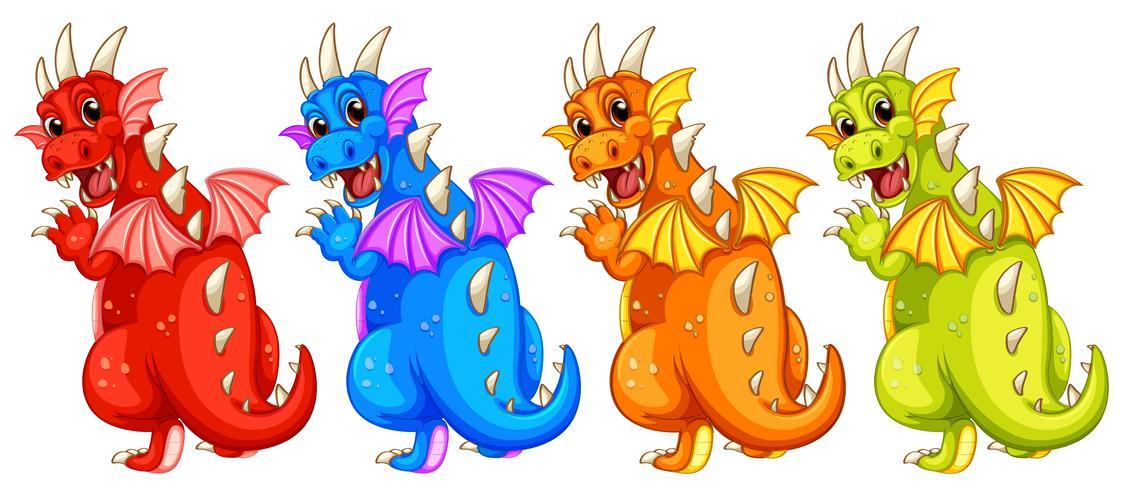Conjunto de diferentes colores dragón