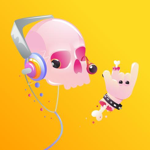 Rock and roll. Main montre des cornes avec des os et du sang. Illustration de dessin animé de vecteur