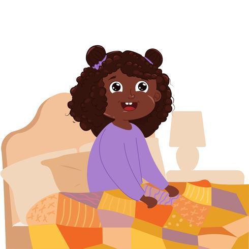 Babymeisje wordt vroeg in de ochtend wakker in de slaapkamer in je bed. Vector cartoon illustratie